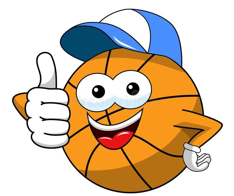 Pulgar divertido del casquillo del carácter de la historieta de la bola del baloncesto para arriba aislado libre illustration