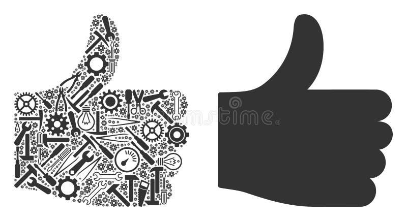 Pulgar encima de la composición de las herramientas del servicio ilustración del vector