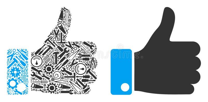 Pulgar encima de la composición de las herramientas de la reparación ilustración del vector