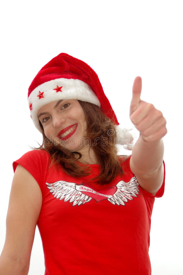 Pulgar encima de la muchacha de Santa imagen de archivo