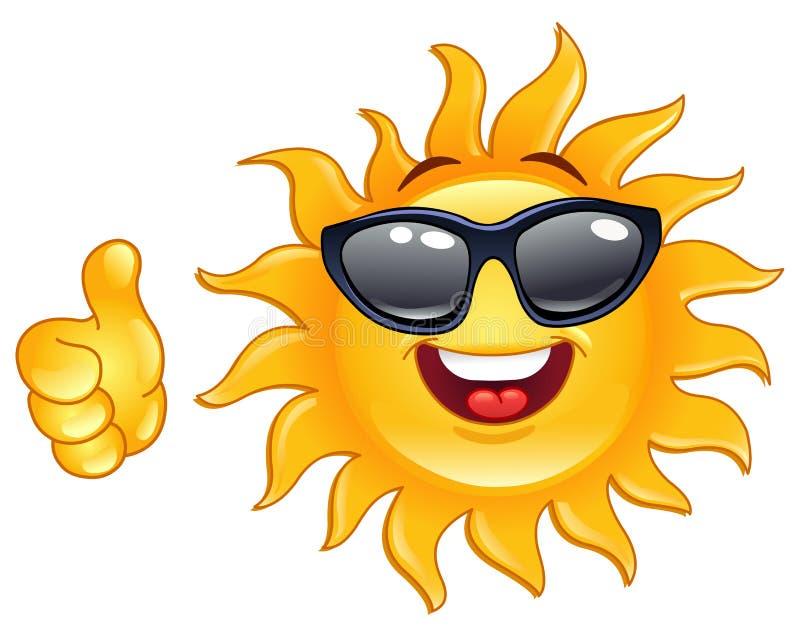 Pulgar encima del sol ilustración del vector