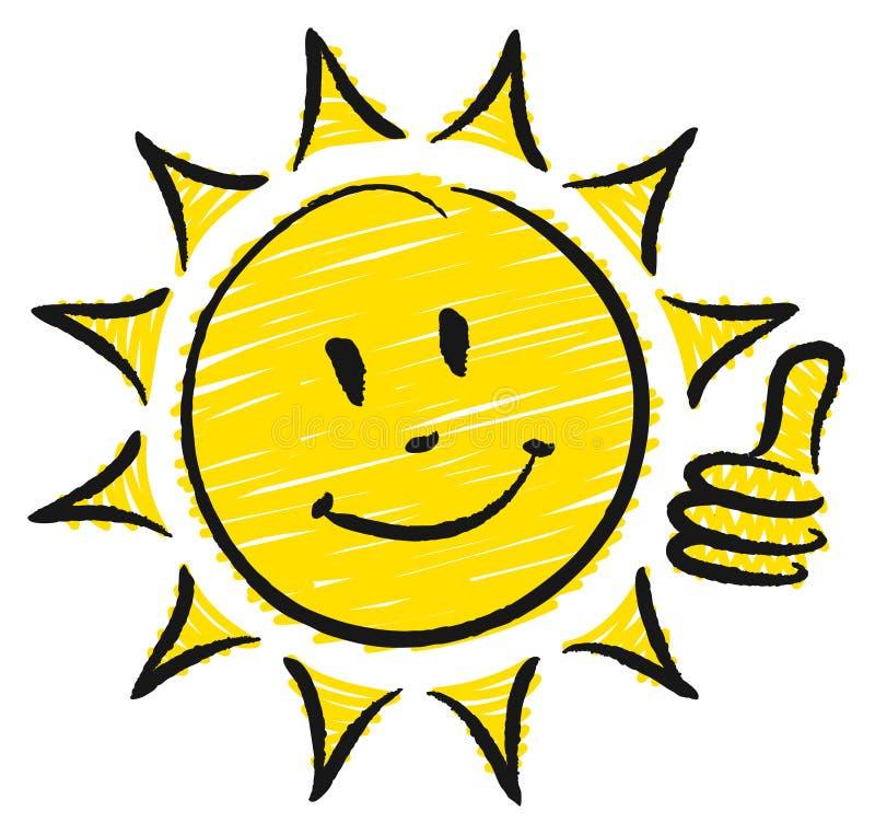 Pulgar exhausto de Sun uno de la mano encima de amarillo y de negro stock de ilustración