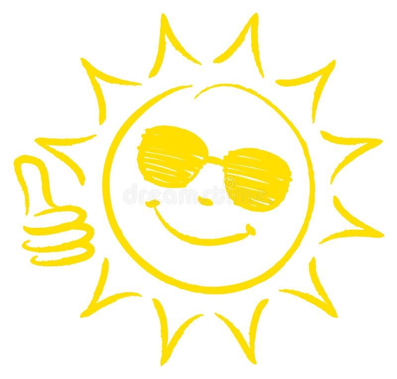 Pulgar exhausto de Sun uno de la mano para arriba con amarillo de las gafas de sol stock de ilustración