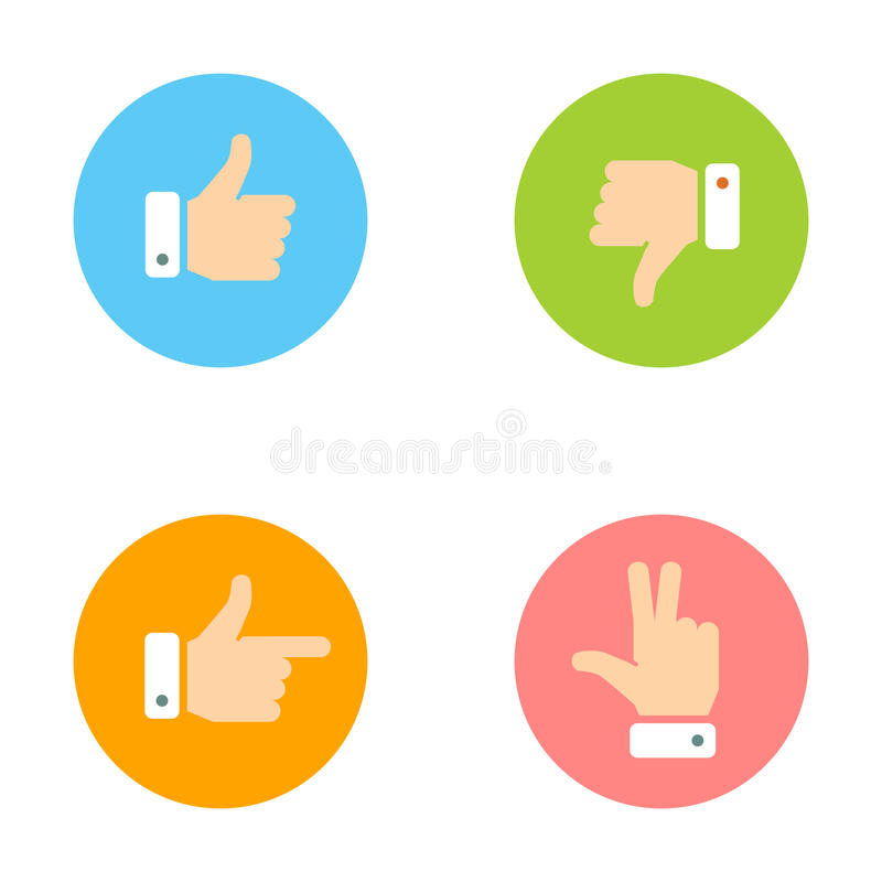 Pulgar para arriba, pulgar abajo, mano de la paz, iconos del índice fijados ilustración del vector