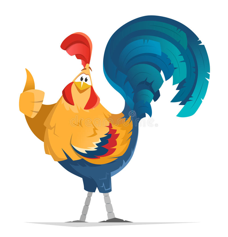 Pulgar pequeno del finger del pájaro del gallo del gallo para arriba ilustración del vector