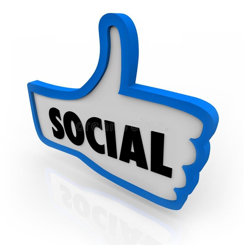 Pulgar social encima de la comunicación de la red stock de ilustración