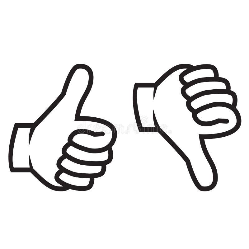 Pulgares arriba y abajo del gesto libre illustration