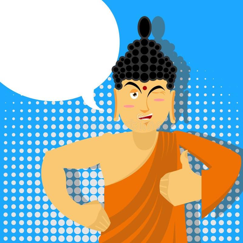 Pulgares de Buda para arriba en estilo del arte pop Dios indio Firme todos derechos H libre illustration