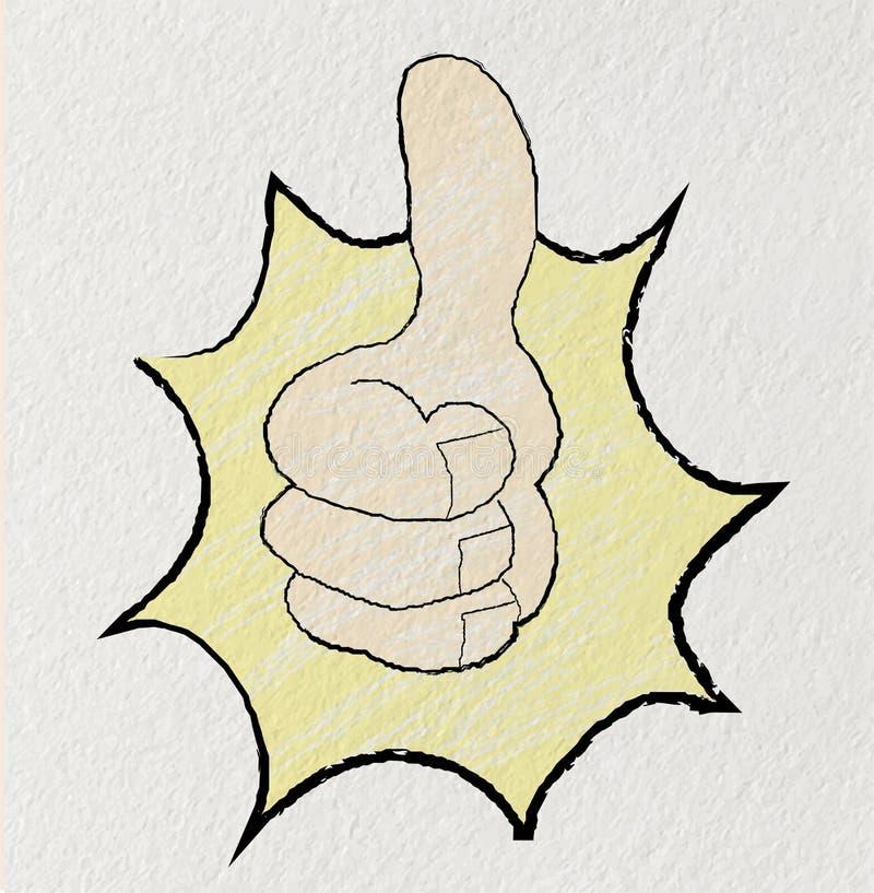 Pulgares de la mano de la historieta para arriba ilustración del vector