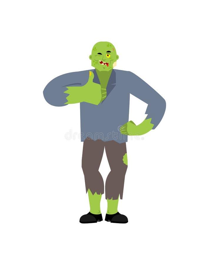 Pulgares del zombi para arriba y guiños Avatar feliz muerto de vida de las emociones Ejemplo del vector de los Undead stock de ilustración