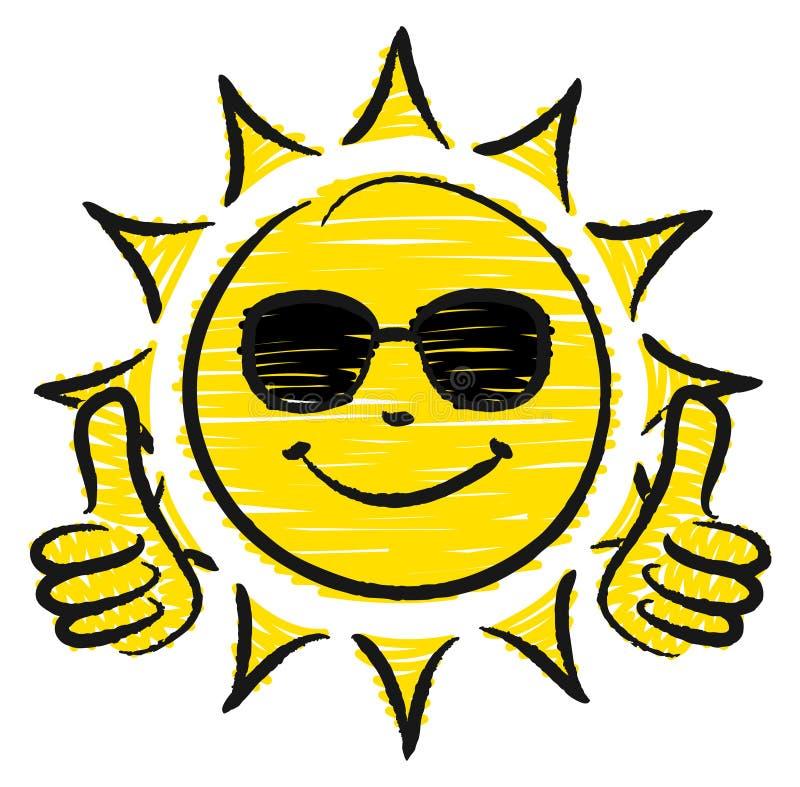 Pulgares dibujados mano de Sun dos para arriba con las gafas de sol amarillas y negras ilustración del vector