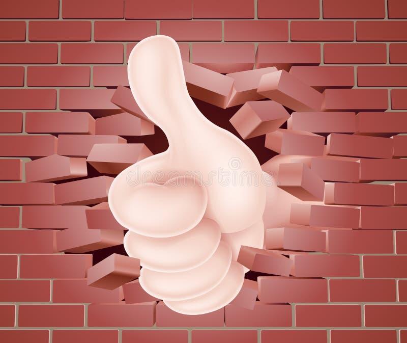 Pulgares encima de la mano a través de la pared libre illustration