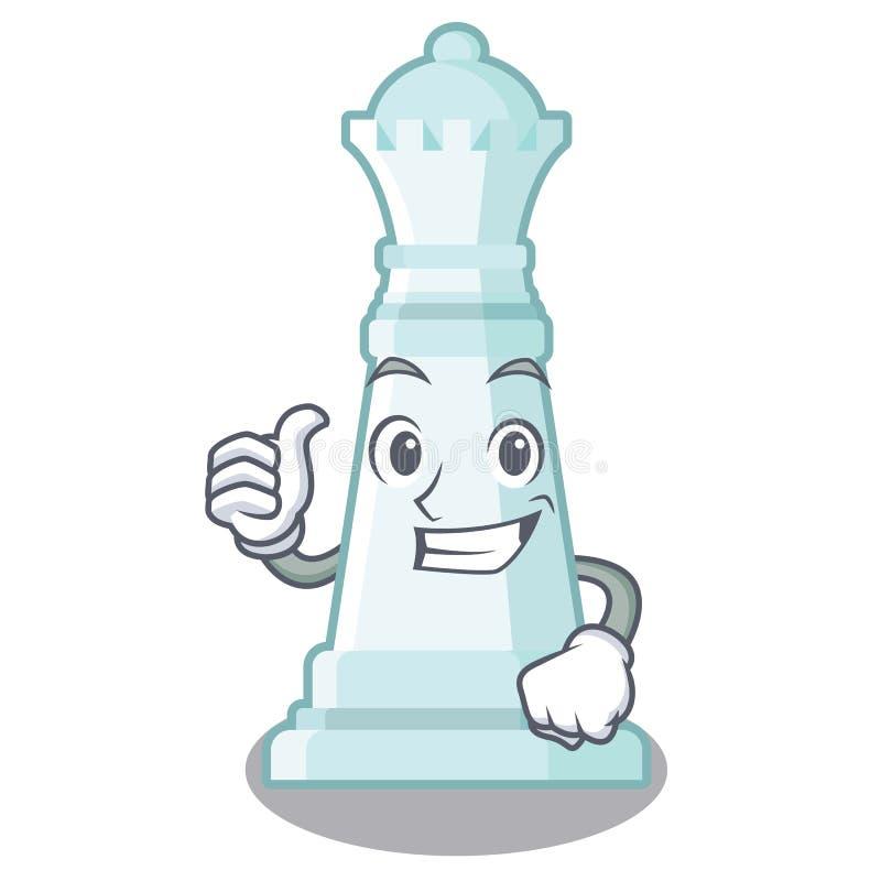 Pulgares encima de la reina del ajedrez en el tablero de ajedrez de la mascota libre illustration