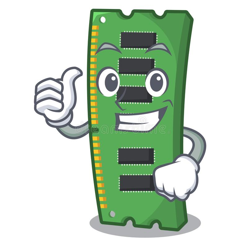 Pulgares encima de la tarjeta de la memoria ram de la forma de la mascota stock de ilustración