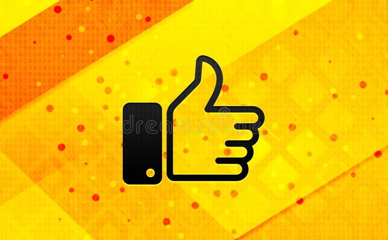Pulgares encima del fondo amarillo de la bandera digital del extracto del icono ilustración del vector