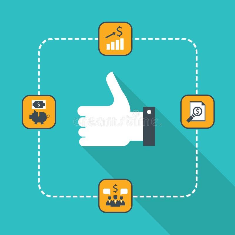 Pulgares encima del icono para la web Concepto acertado del negocio, buena estrategia, planeamiento, sociedad, consiguiendo benef ilustración del vector