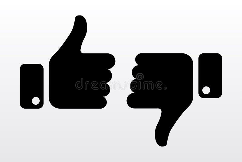Pulgares hacia arriba y hacia abajo, como los iconos de la aversión para la red social ilustración del vector