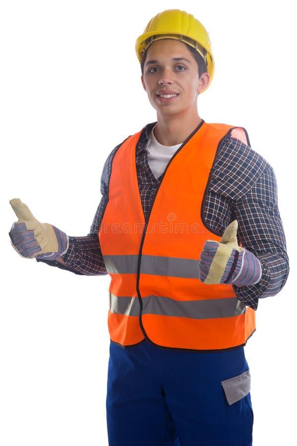 Pulgares jovenes del trabajo del trabajador de construcción para arriba aislados foto de archivo
