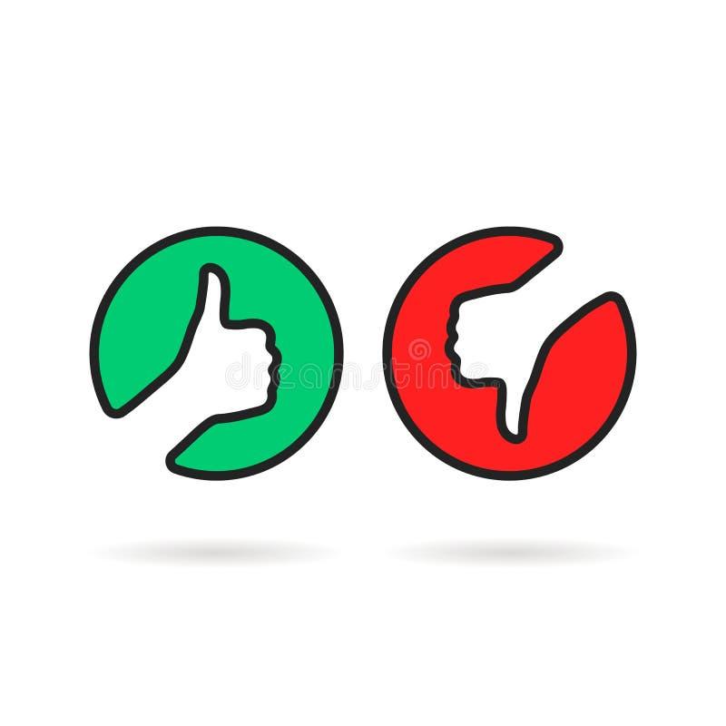 Pulgares lineares arriba y abajo del logotipo redondo stock de ilustración