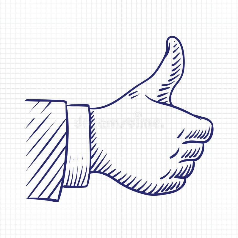 Pulgares para arriba como el ejemplo del vector del bosquejo de la mano stock de ilustración