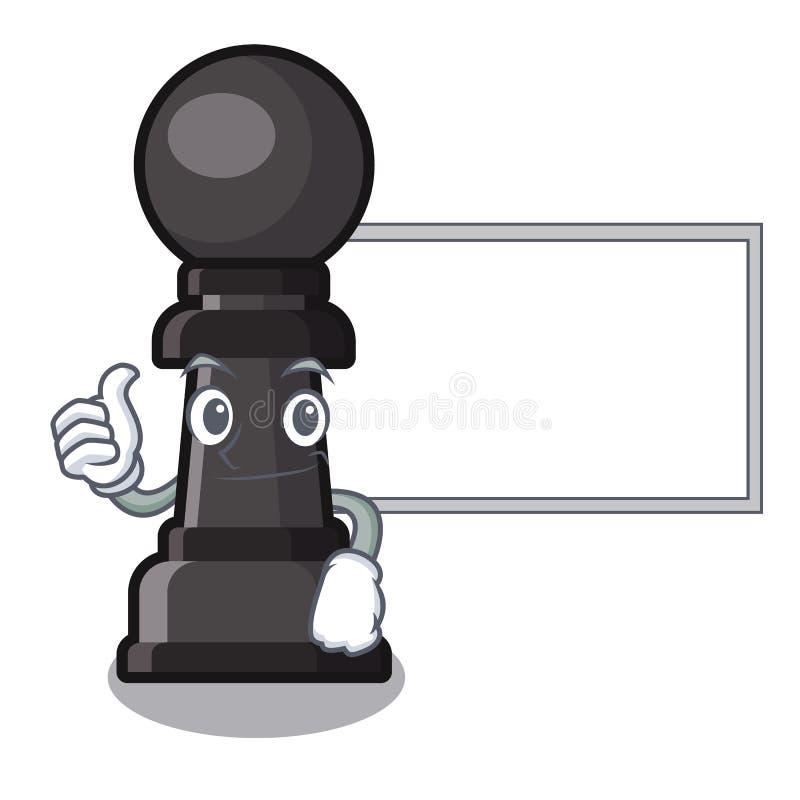 Pulgares para arriba con el empeño del ajedrez del tablero aislado con la historieta stock de ilustración