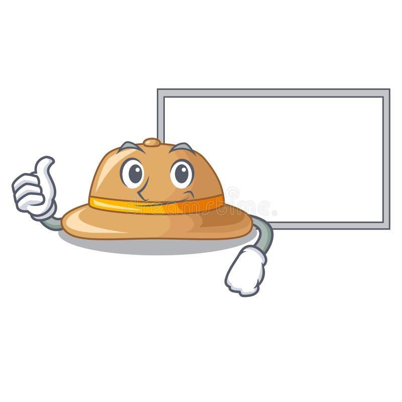 Pulgares para arriba con el sombrero del corcho del tablero aislado en la mascota stock de ilustración