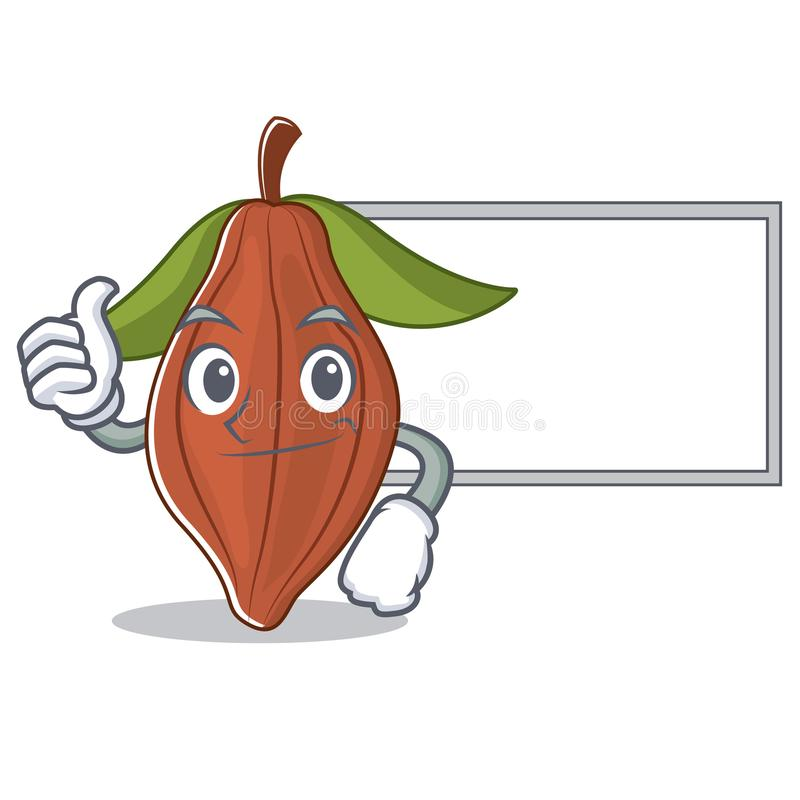 Pulgares para arriba con la historieta del carácter de la haba del cacao del tablero ilustración del vector