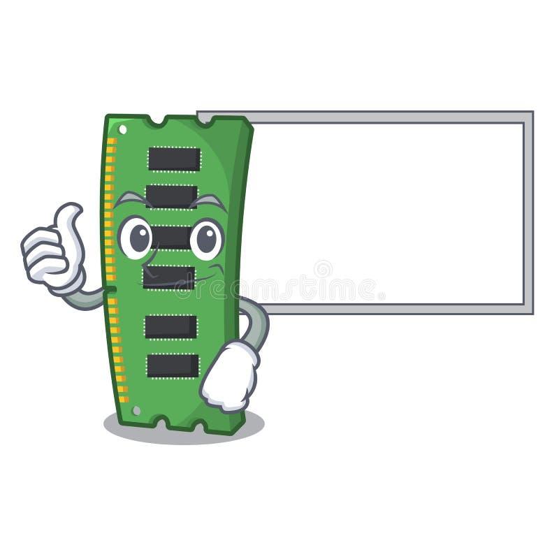 Pulgares para arriba con la tarjeta de la memoria ram del tablero aislada en historieta libre illustration