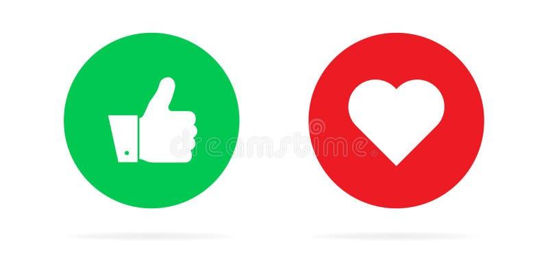 Pulgares para arriba y corazones en un fondo blanco Ejemplo del vector de emociones Para las redes y la publicidad sociales ilustración del vector