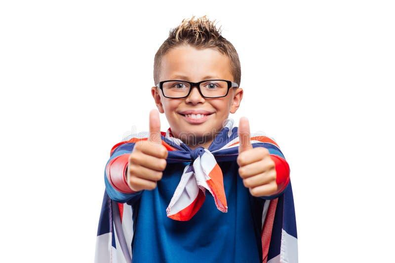 Pulgares sonrientes del super héroe para arriba imágenes de archivo libres de regalías