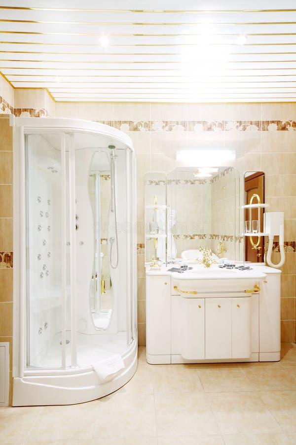 Pulisca il bagno con la cabina della doccia ed affondi con lo specchio immagine stock