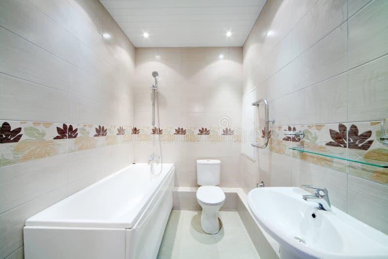 Pulisca il bagno con la toilette con le mattonelle grige - Toilette da bagno ...