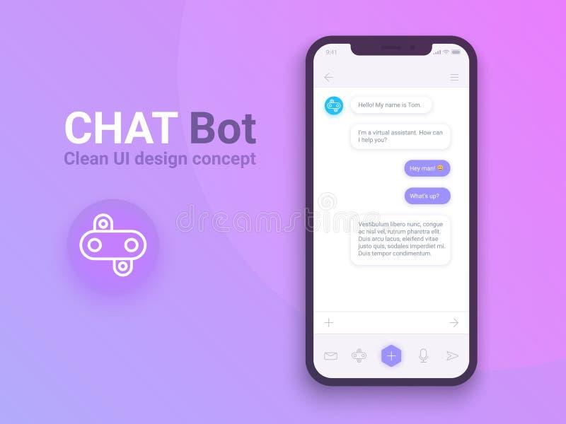 Pulisca il concetto di progetto mobile di UI Applicazione d'avanguardia di Chatbot con la finestra di dialogo Messaggero di Sms E illustrazione vettoriale