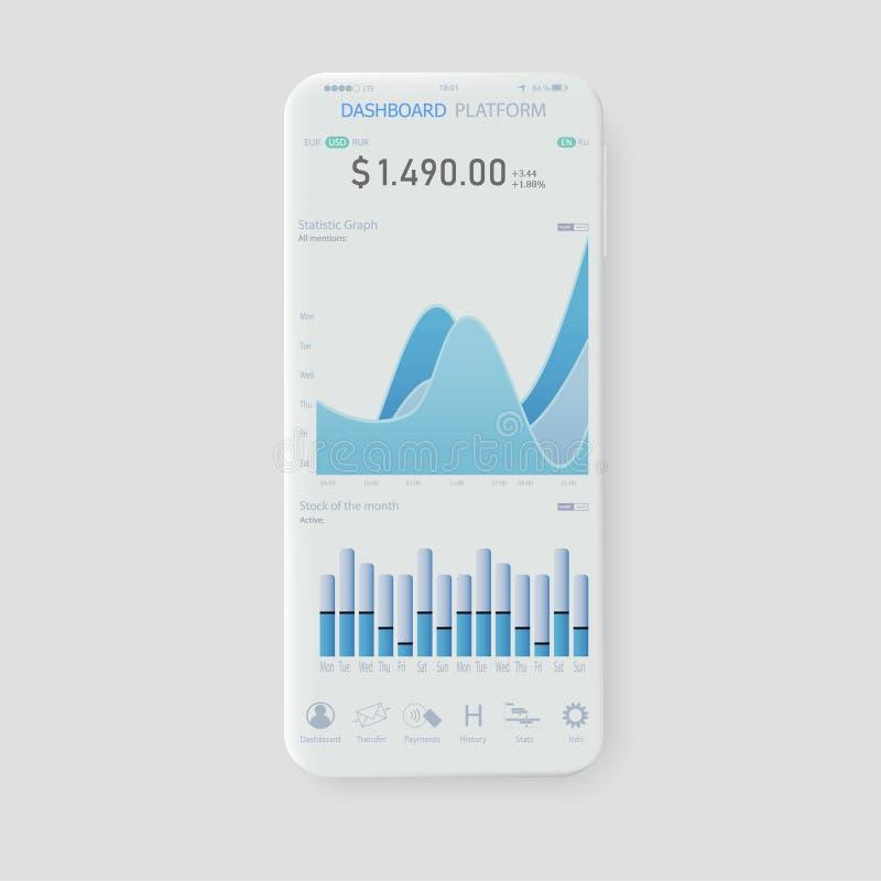 Pulisca il concetto di progetto mobile di UI Attività bancarie mobili d'avanguardia royalty illustrazione gratis