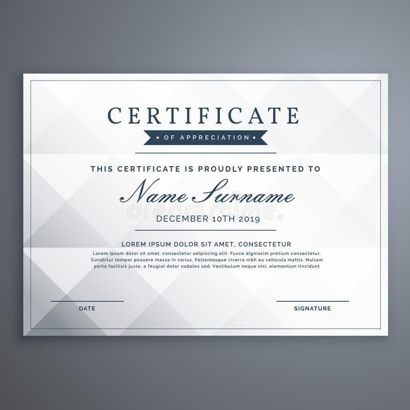 Pulisca il diploma o il modello bianco di progettazione del certificato di risultato illustrazione di stock
