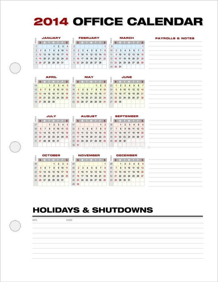 2014 Pulisca Il Vettore Di Numeri Di Settimana Di Calendario Dell Ufficio Corporativo Immagini Stock