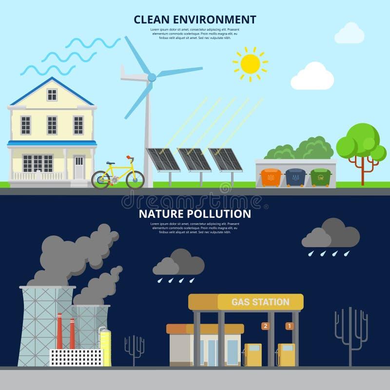 Pulisca l'immagine piana dell'eroe di stile di inquinamento della natura e dell'ambiente royalty illustrazione gratis