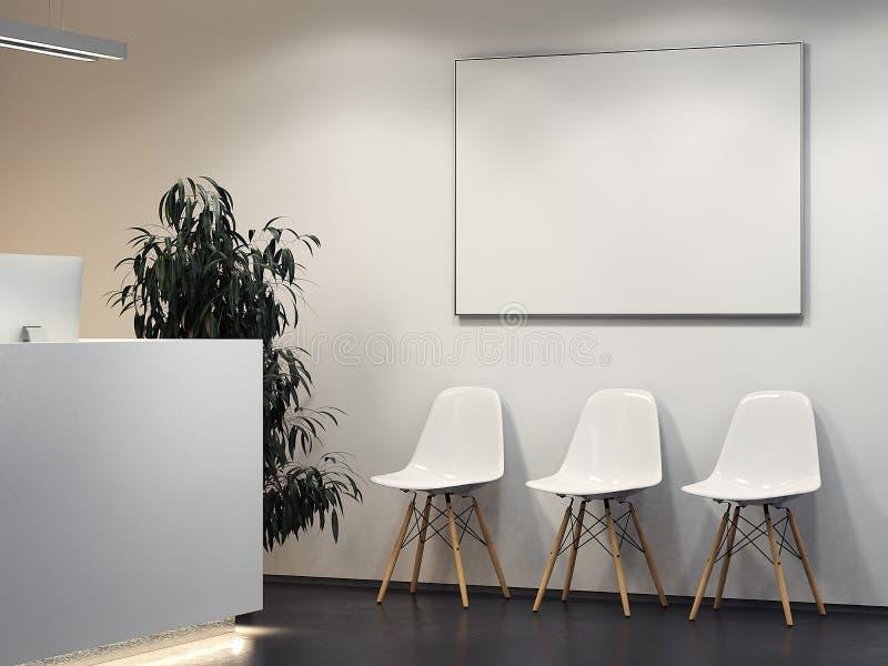 Pulisca l'interno luminoso con la ricezione e la fila delle sedie rappresentazione 3d illustrazione vettoriale
