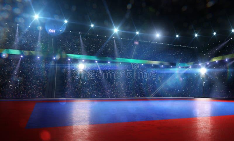 Pulisca la grande arena di combattimento nelle luci intense fotografia stock