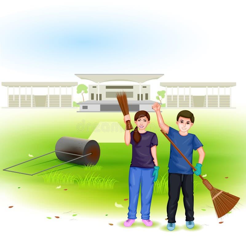 Pulisca la missione dell'India royalty illustrazione gratis