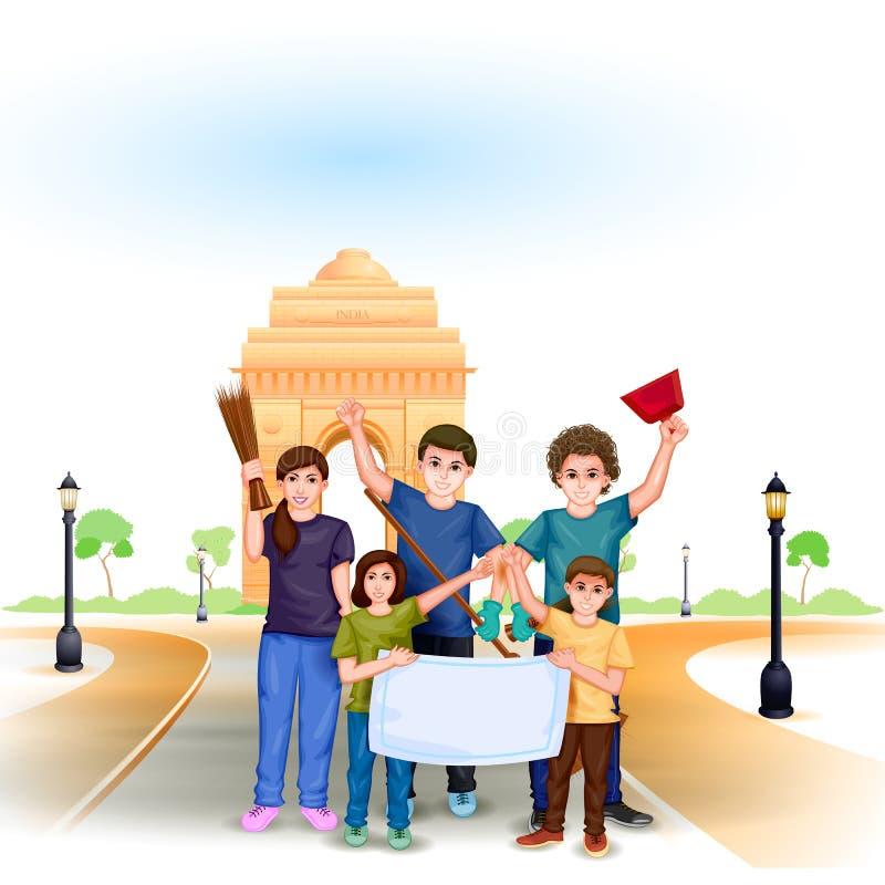 Pulisca la missione dell'India illustrazione vettoriale