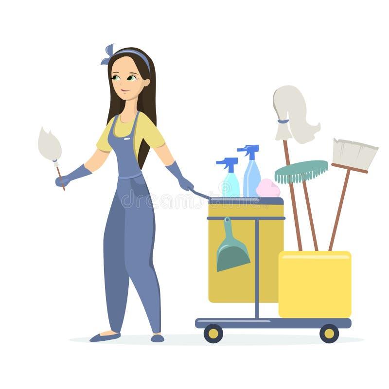 Pulitore isolato della donna illustrazione vettoriale