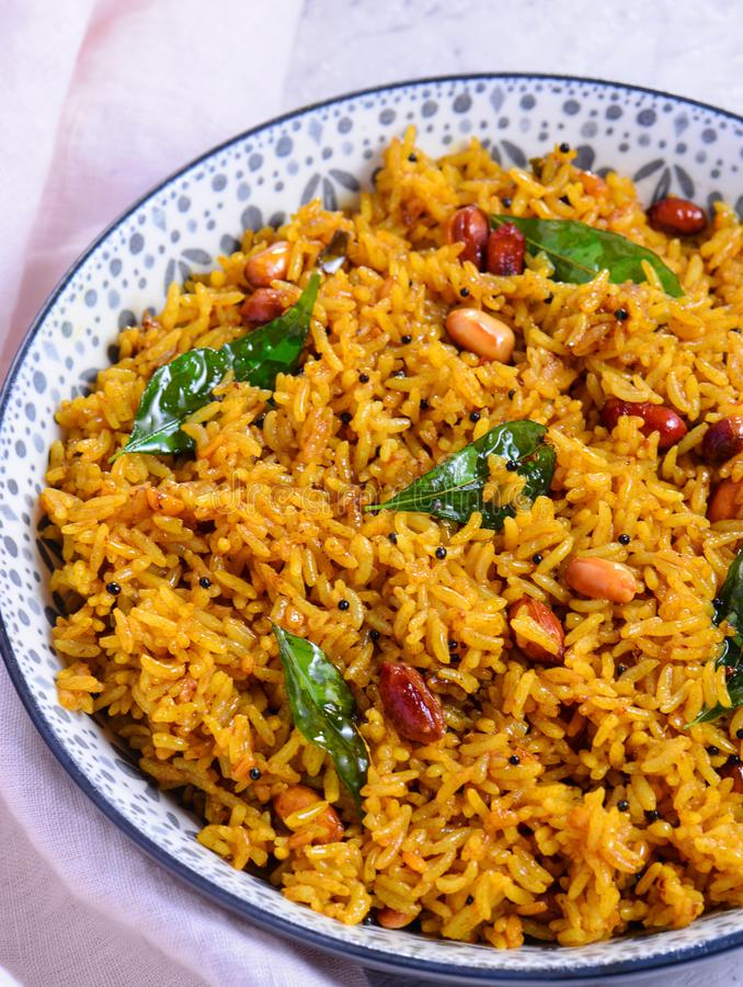 Puliyogare  - Traditional South Indian Vegetarian Rice Dish stock photo
