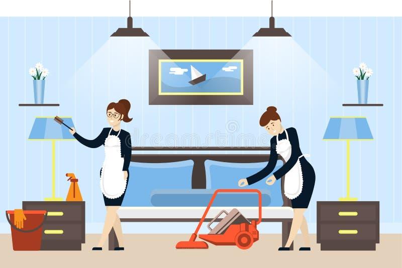 Pulizia della camera di albergo illustrazione di stock