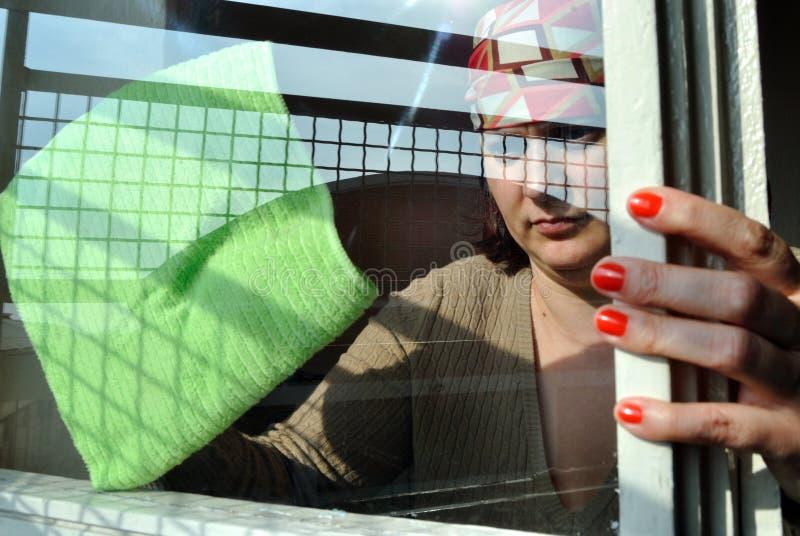 Pulizia della finestra fotografia stock libera da diritti