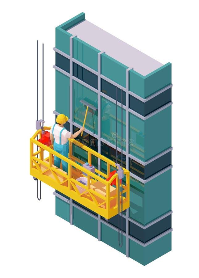 Pulizia delle finestre dei grattacieli isometrici vettoriali royalty illustrazione gratis