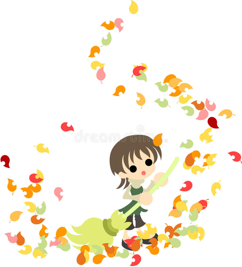 Pulizia delle foglie cadute illustrazione di stock