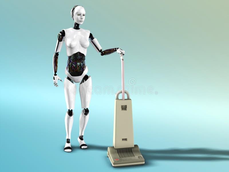 Pulizia femminile di vuoto del robot. illustrazione di stock