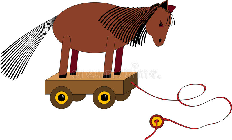 Download Pull along horse toy stock illustration. Illustration of white - 387056
