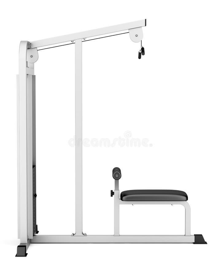 Pull-down γυμναστικής μηχανή που απομονώνεται στο λευκό ελεύθερη απεικόνιση δικαιώματος